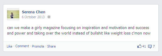A screenshot of a Facebook status lamenting the state of girls' magazines.